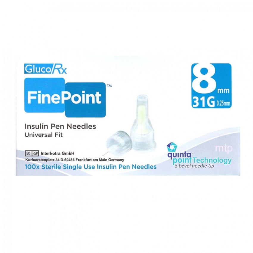 GlucoRx Finepoint Insulin Pen Needles 8mm 31G 100