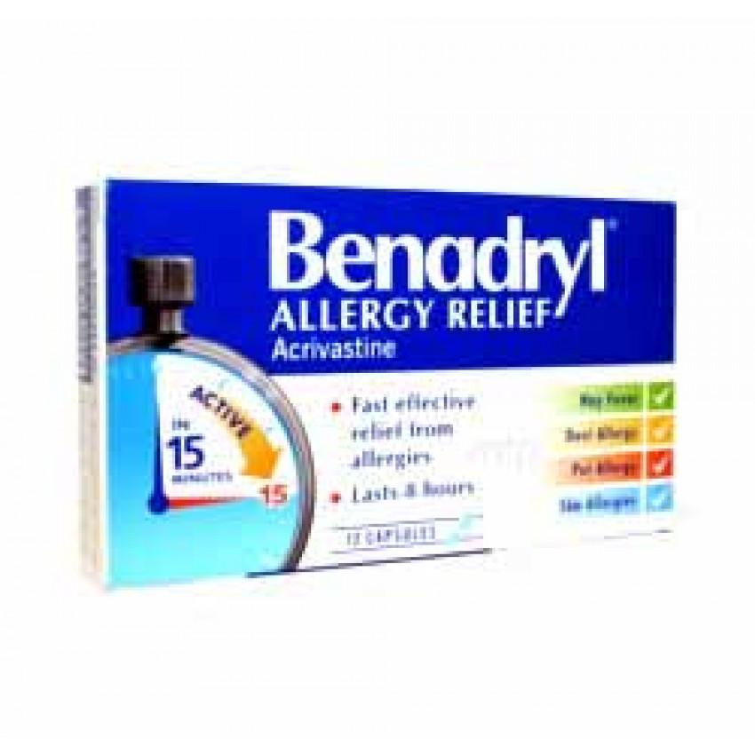 Benadryl Allergy Relief Capsules 12