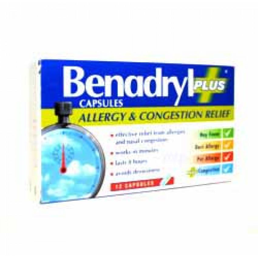 Benadryl Plus Allergy and Congestion Relief Capsules 12