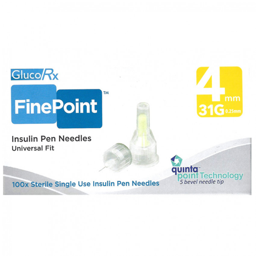GlucoRx Finepoint Insulin Pen Needles 4mm 31G 100