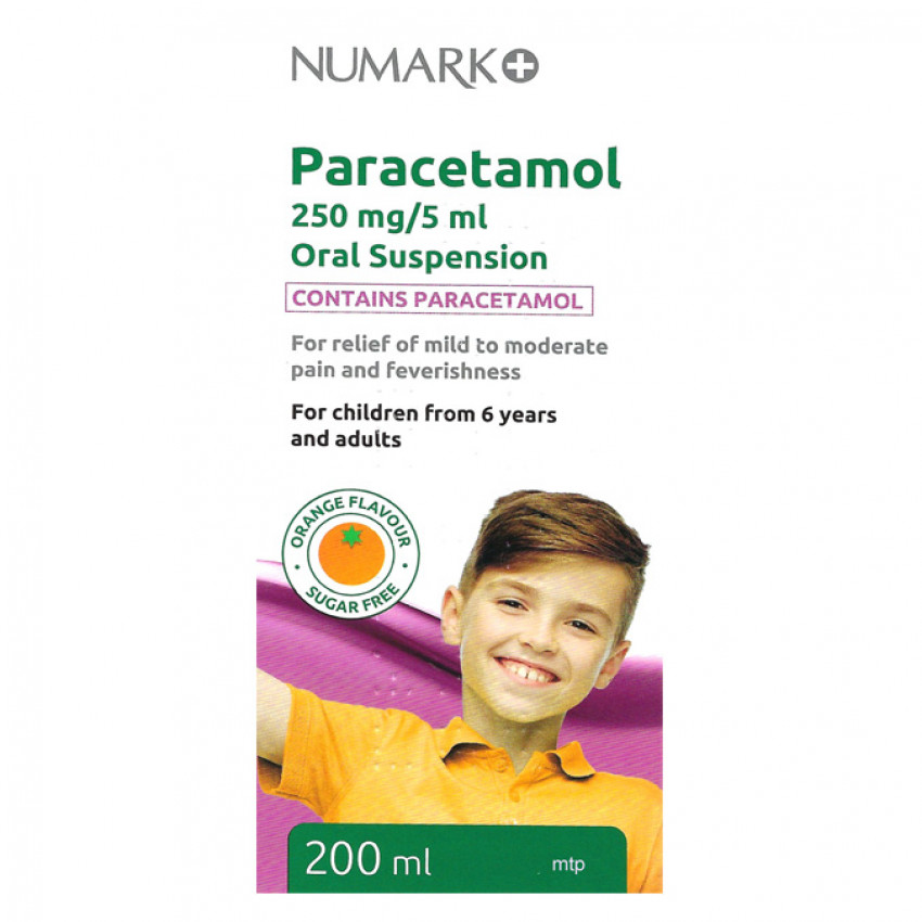 Numark Paracetamol Sugar Free 250mg/5ml Suspension 200ml