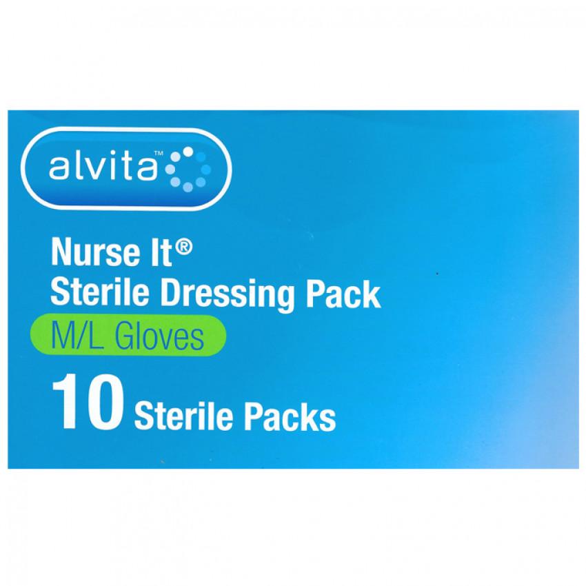 Nurse It Sterile Dressing Pack Med/Lge Gloves Pack of 10