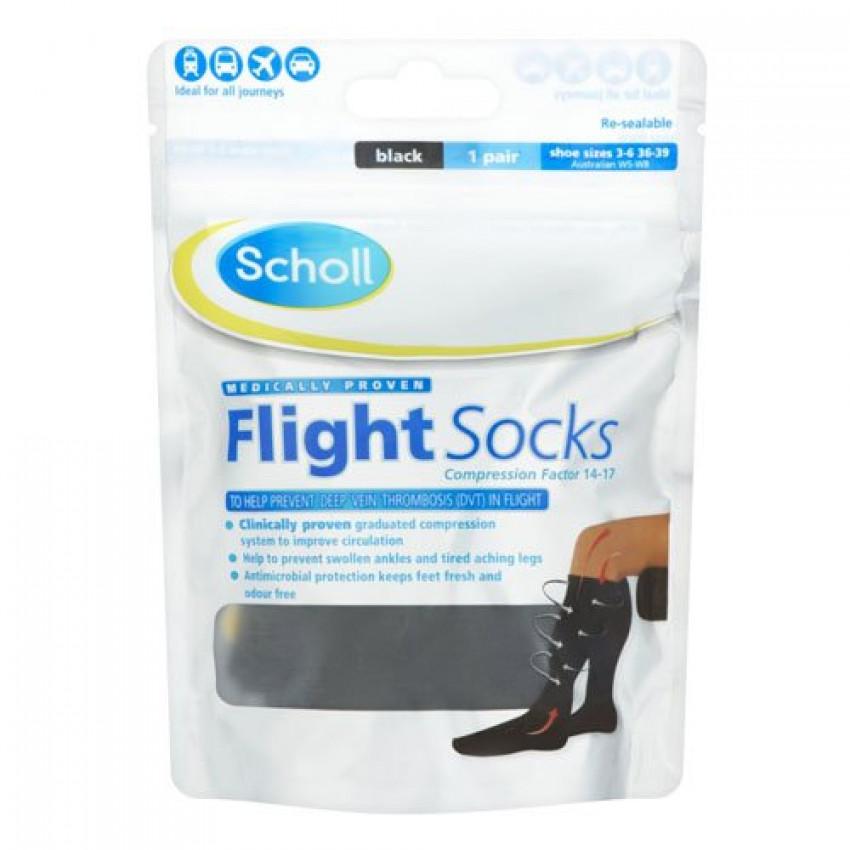 Scholl Flight Socks Black shoe sizes 3-6 (36-39) 1 pair