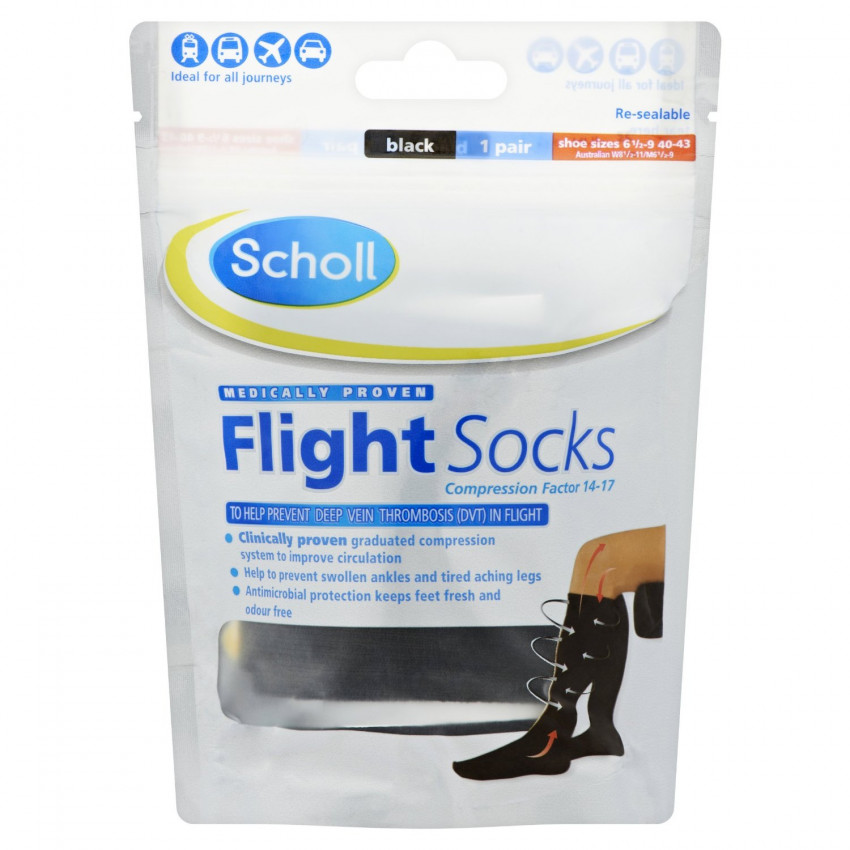 Scholl Flight Socks Black shoe sizes 6.5-9 (40-43) 1 pair