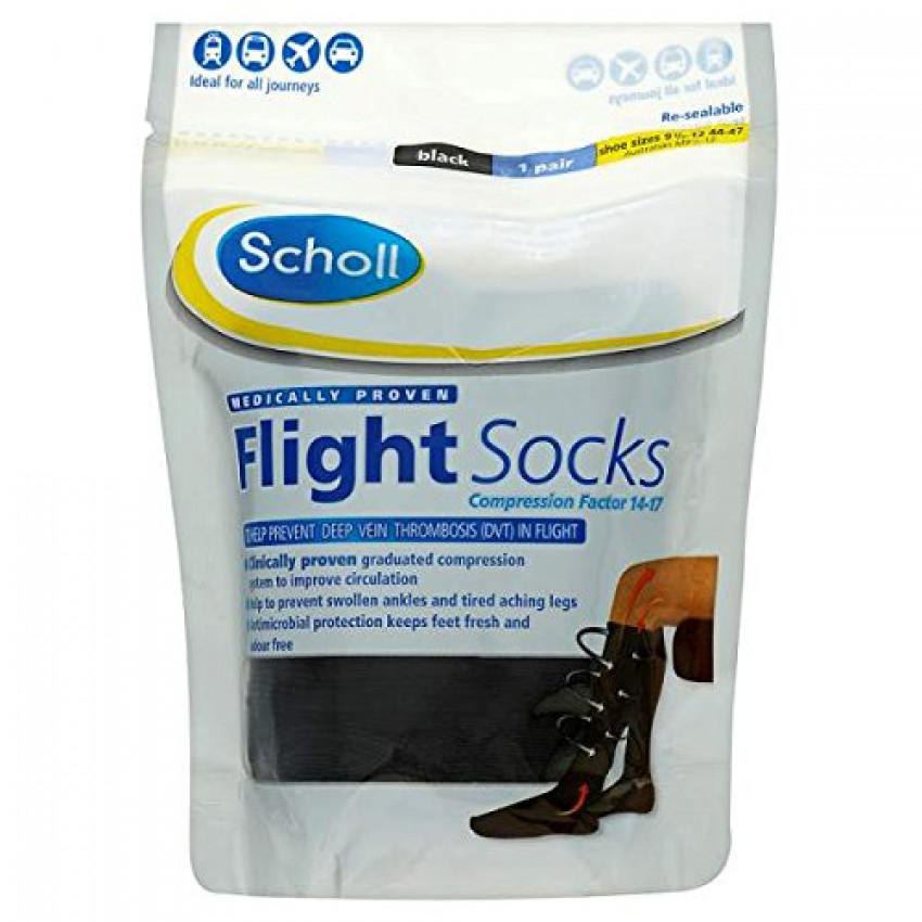 Scholl Flight Socks Black shoe sizes 9.5-12 (44-47) 1 pair