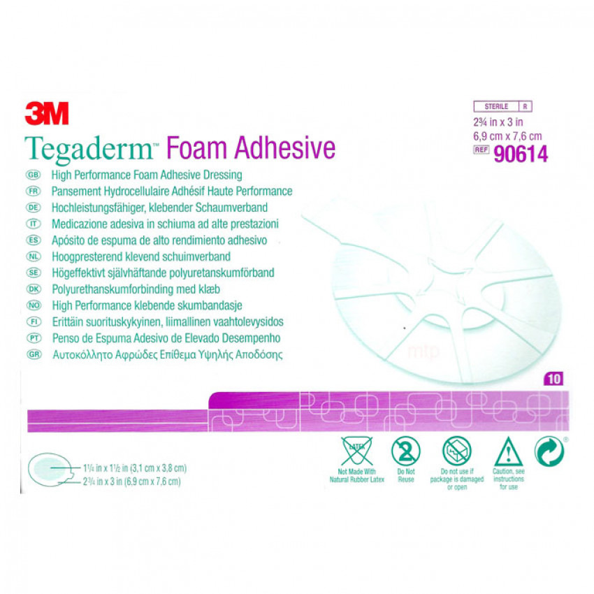 Tegaderm Foam Adh Dressing 6.9 x 7.6cm Pack of 10